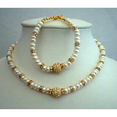 FashionJewelryForEveryone.com Choker Mother Jewelry FreshWater Pearls Gold Plated Rondells Bracelet at Sears.com