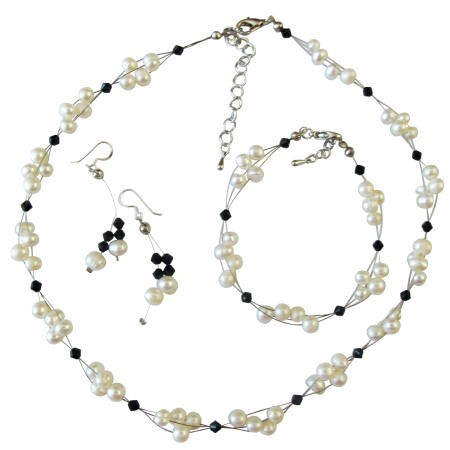 Bridal Jewelry Inexpensive Freshwater Pearls with Jet Crystals Set
