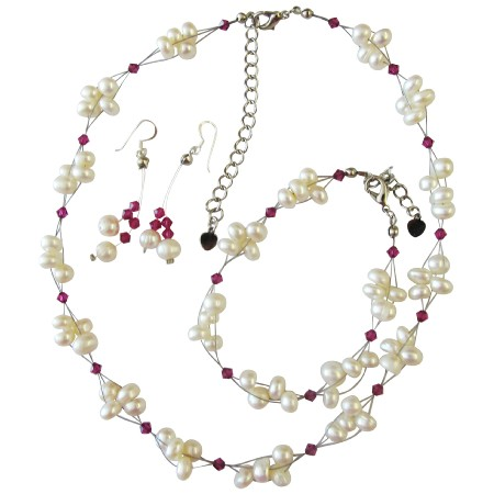 Freshwater Pearls Fuchsia Crystals Bridal Bridesmaid Jewelry