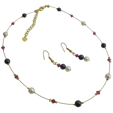 Cheap Bridesmaid Dark Purple Ivory Pearls & Fuchsia Crystals Jewelry