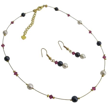 Cheap Bridesmaid Dark Purple Ivory Pearls & Fuchsia Crystals Jewelry