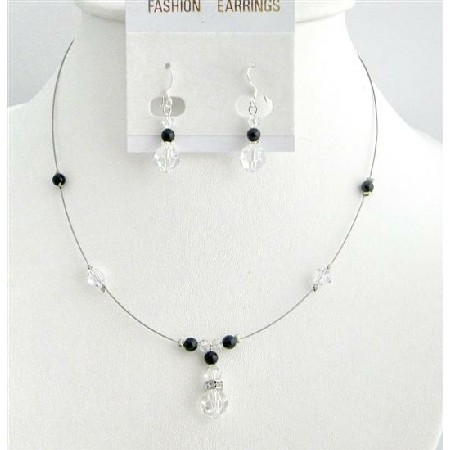 Customize Cheap Pearls Crystals Black Clear Crystals Jewelry