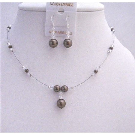 Bridal Party Gifts Dark Brown Pearls with Clear Crystals Beads Set