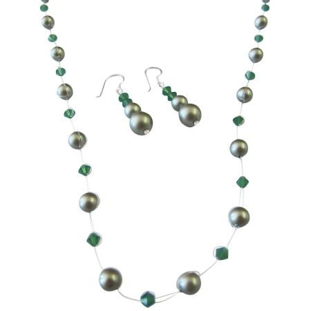 Designer Jewelry Clover Crystals w/ Green Pearls Jewelry Set