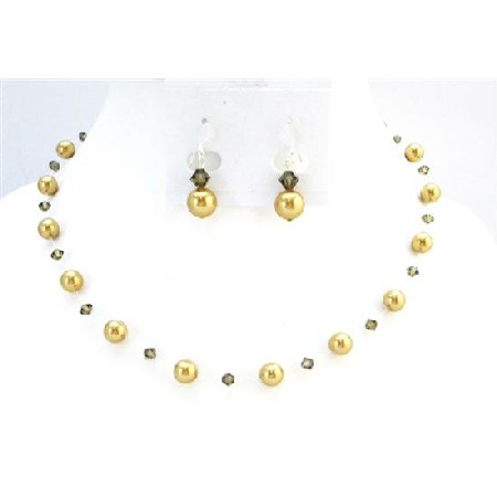 Bridal Jewelry Low Prices Golden Pearls Smoky Quartz Jewelry