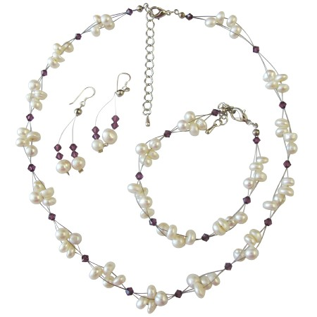 Interwoven Necklace Amethyst Crystals Freshwater Pearls Wedding Set