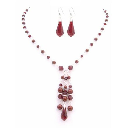 Siam Red Crystals & Pearls Teardrop Earrings Confetti Prom Jewelry