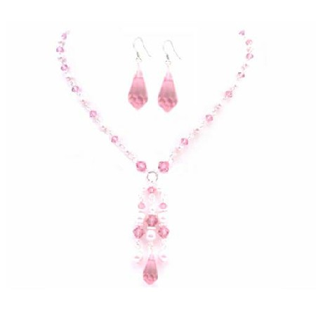 Rose Crystals Pink Pearls Party Wedding All Occasion Jewelry