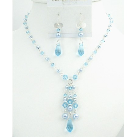 Prom Jewelry Very Beautiful Blue Pearls & Aquamarine Crystals Jewelry