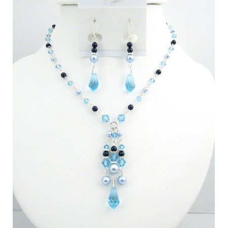 Lite Blue Dark Blue Pearls Aquamarine Crystals Prom Jewelry