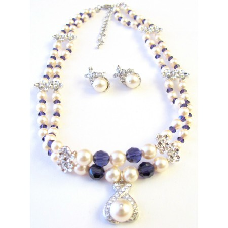 Gift For Mother Double Stranded Necklace Ivory Pearls Purple