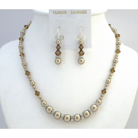 Bronze Crystals & Pearls Necklace Set Bridal Jewelry Set