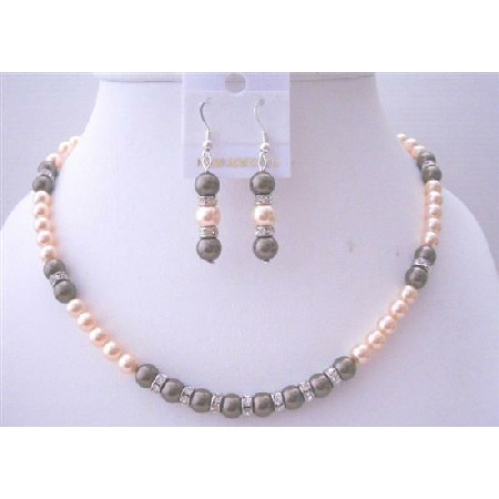 Peach Chocolate Brown Pearls Necklace Bridal Wedding Jewelry