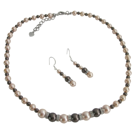 Dark Chocolate Peach Pearls Silver Rondells Spacer Wedding Jewelry Set