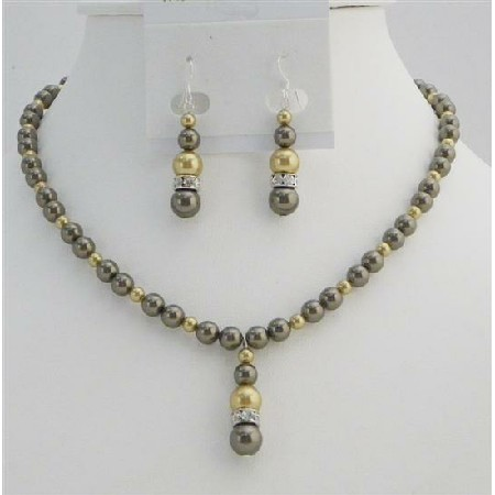 Gold Pearls Jewelry Brown Chocolate Swarovski Pearls Handcrafted Set