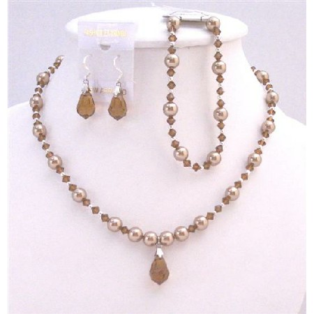 Prom Bronze Dress Teardrop Bronze Pearls & Brown Jewelry Set