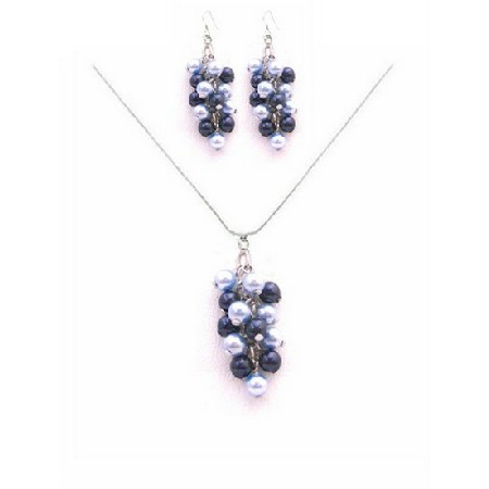 Best Jewelry Gifts for Bridesmaid Light Dark Blue Pearls Necklace Set