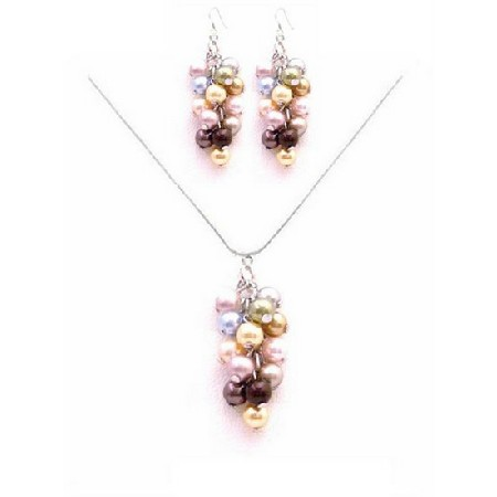 Sparkle Shine Beautiful Prom Jewelry Multicolored Pearls Set
