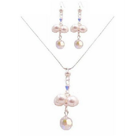 Special Designs For Bridesmaid Jewelry AB Crystals & White Pearls Set
