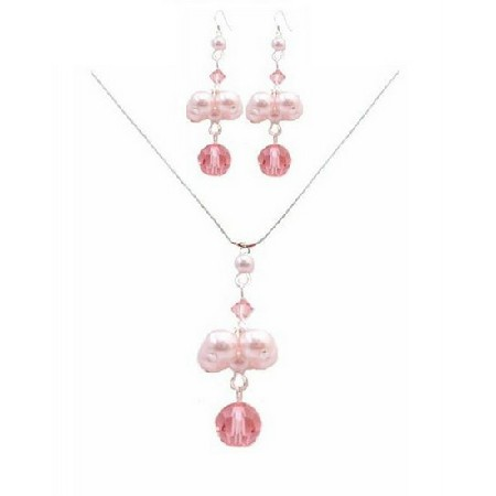 Handmade Jewelry Swarovski Rose Crystals Pink Pearls Necklace Set