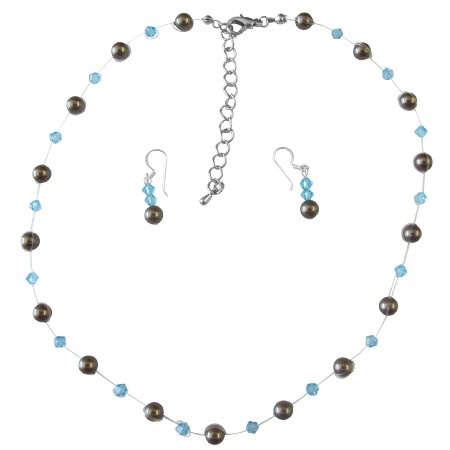 Handmade Wedding Brown Pearls & Aquamarine Crystals Bridesmaid Gifts