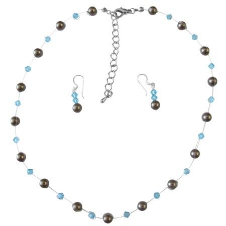 Handmade Wedding Brown Pearls & Aquamarine Crystals Bridesmaid Gifts