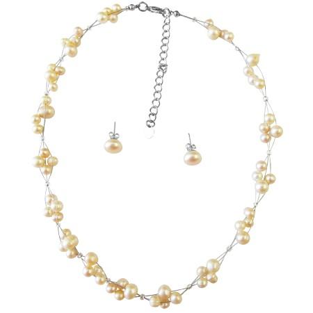 Peach Freshwater Pearls Necklace Stud Earrings Wedding Jewelry Set