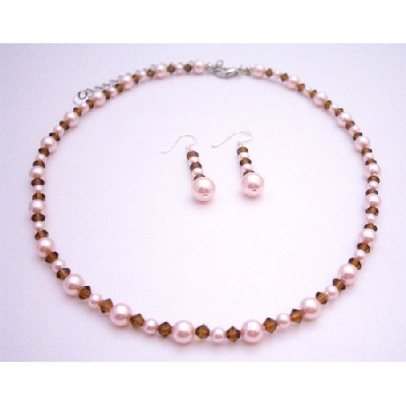 Handcrafted Rose Pink Pearls Smoked Topaz Crystals Necklace