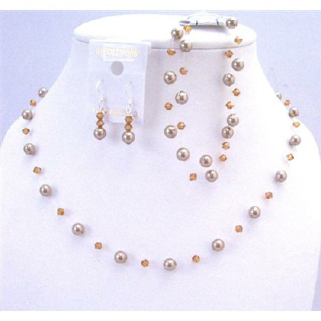 Brilliant Swarovski Bronze Pearls Copper Crystal Wedding Party Jewelry