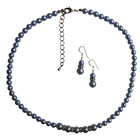 Customized Bridal Wedding Blue Pearls Necklace Blue Gorgeous Jewelry