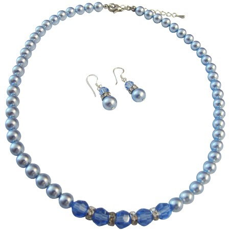 Sapphire Crystals Blue Pearls Necklace Set Beautiful Gorgeous Jewelry