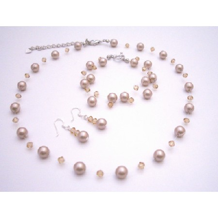 Platinum Champagne Pearls Crystals Necklace & Earrings Wedding Jewelry