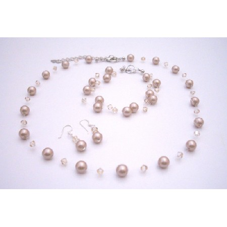 Swarovski Golden Shadow w/ Platinium Champagne Pearls Jewelry Set