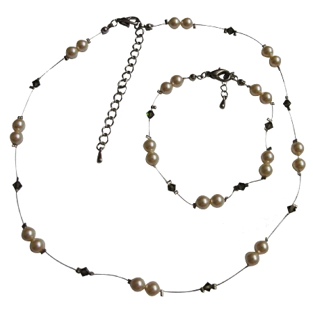 Stylish Jewelry For Flower Girls Ivory Pearls & Smoky Quartz
