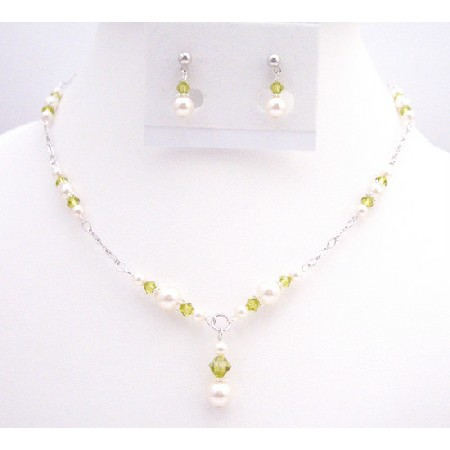 Lite Olivine Crystals w/ White Pearls Handmade Necklace Set