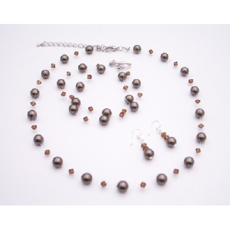Wedding Jewelry Swarovski Smoked Topaz Chocolate Brown Pearls Jewelry