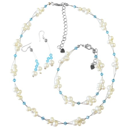 Freshwater Pearls Aquamarine Crystals Wedding Jewelry Set