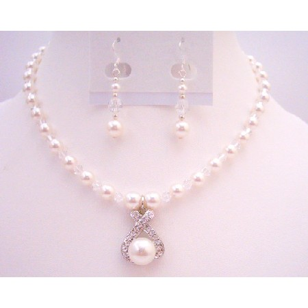 Pure Whie Pearls Jewelry w/ Clear Crystals Drop Down Pendant Set