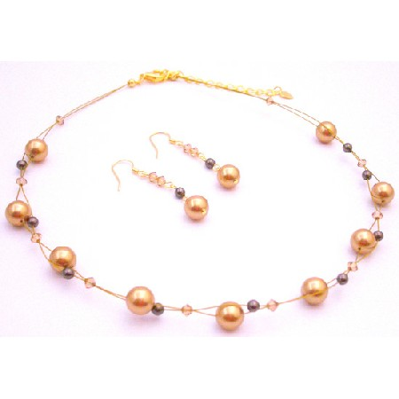 Year Eve Party Necklace Gold Brown Pearls Lite Colorado Crystals
