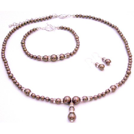 Our Artist Special Order Fine Brown Pearls Necklace Earrings Bracelet