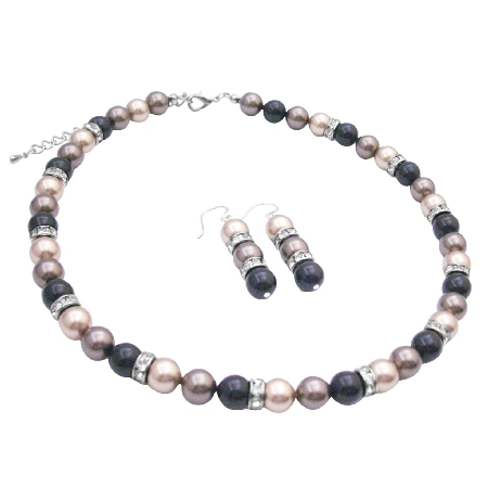 Spectacular Pearls Trio Brown Black & Bronze Jewelry Set