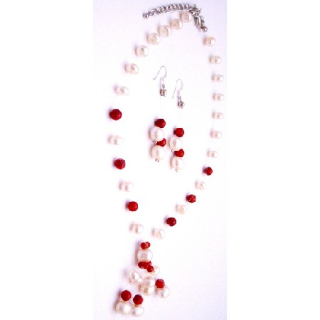 Eye Catching Jewelry Handmade Freshwater Pearls Coral Necklace Earring