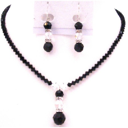 Artisin Jewelry Black & White Crystals Year Eve Party Jewelry Set