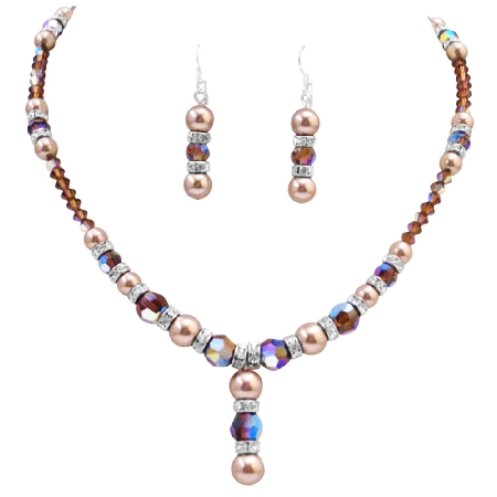Dazzling Jewelry Year Eve Party Jewelry Bronze Smoked Crystals Set