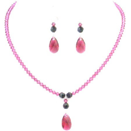 Fuchsia Teardrop Crystals w/ Jet Crystals Party Necklace Set