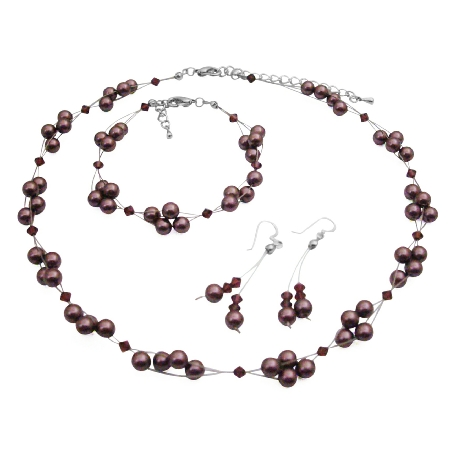 Burgundy Pearls & Crystals Bridesmaid Jewelry Set