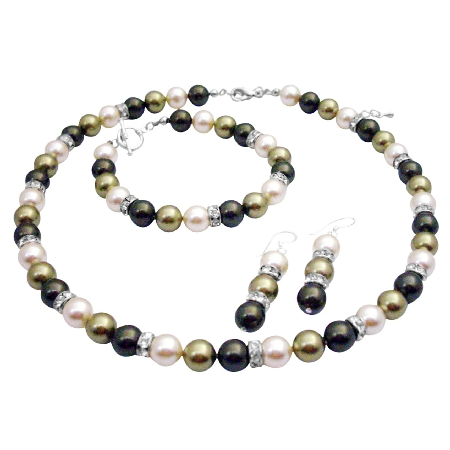 Beautiful Tricolor Pearls Jewelry Set for Mother of Bride