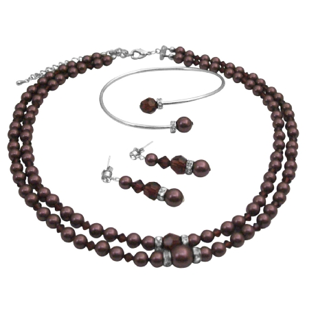 Handcrafted Double Stranded Burgundy Pearls Crystals Formal Jewelry