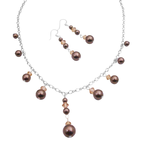 Inexpensive Swarovski Brown Pearls Necklace Set For Prom Wedding