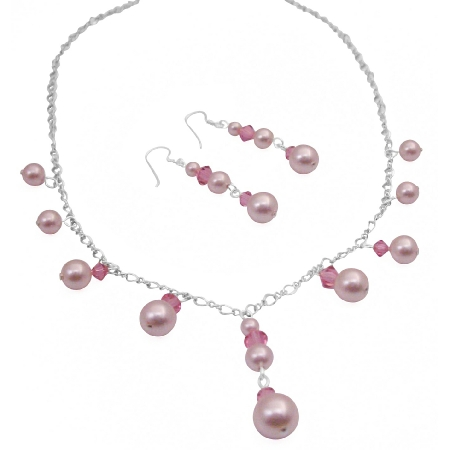 Romantic Rose Crystals & Pink Pearls Bridesmaid Necklace Set